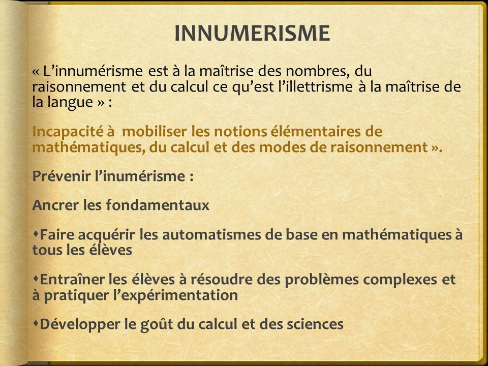 INNUMERISME « L'innumérisme est à la maîtrise des nombres, du raisonnement et du calcul ce qu'est l'illettrisme à la maîtrise de la langue » :