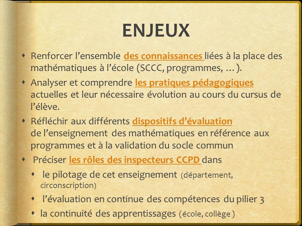 ENJEUX Renforcer l'ensemble des connaissances liées à la place des mathématiques à l'école (SCCC, programmes, …).