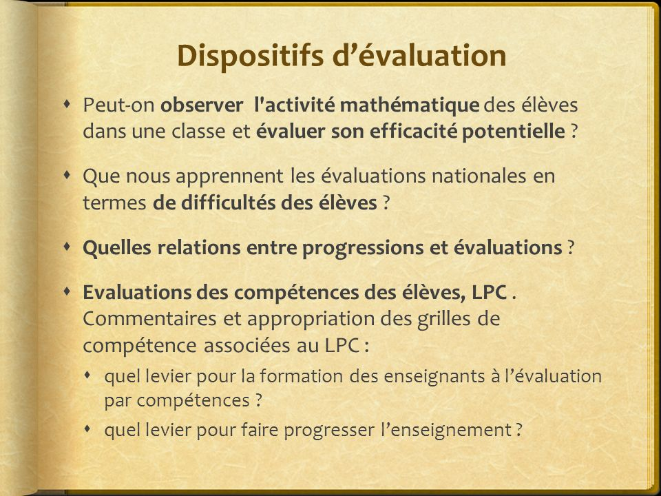 Dispositifs d'évaluation