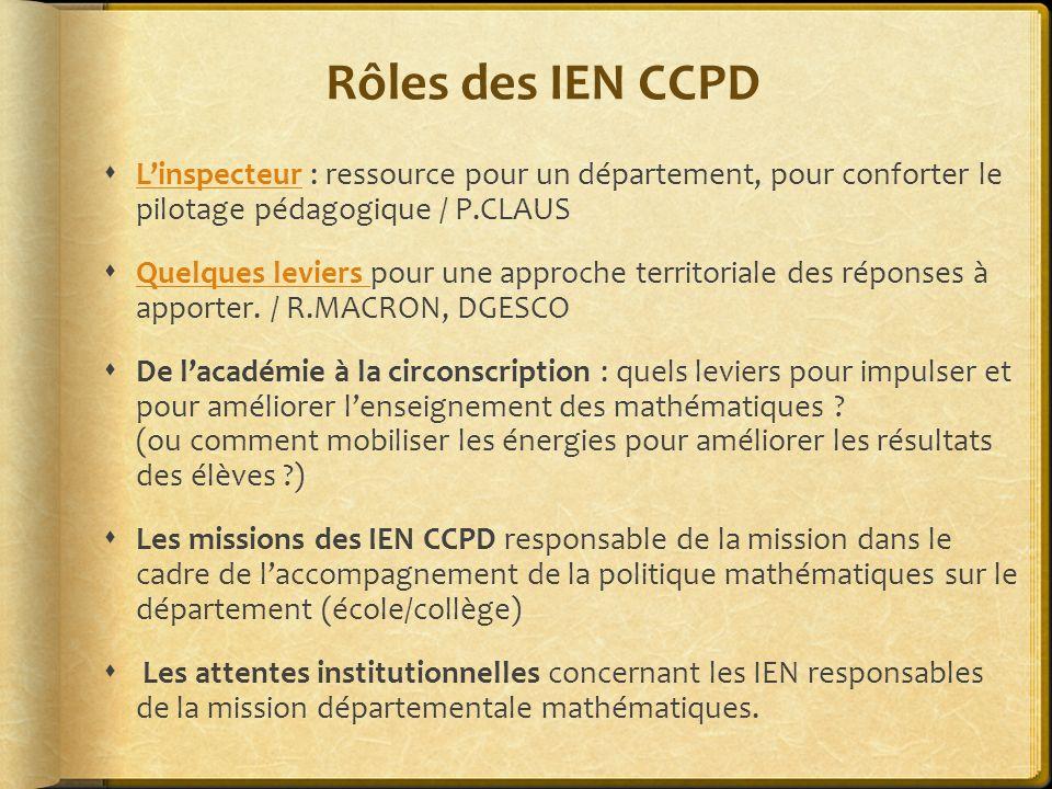 Rôles des IEN CCPD L'inspecteur : ressource pour un département, pour conforter le pilotage pédagogique / P.CLAUS.