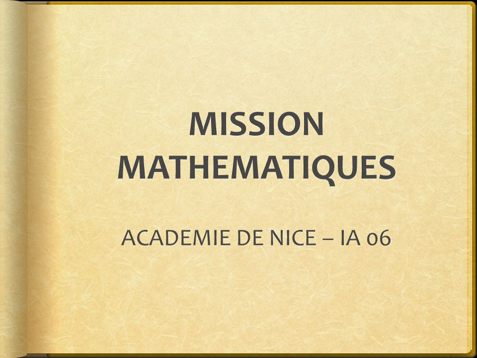 MISSION MATHEMATIQUES