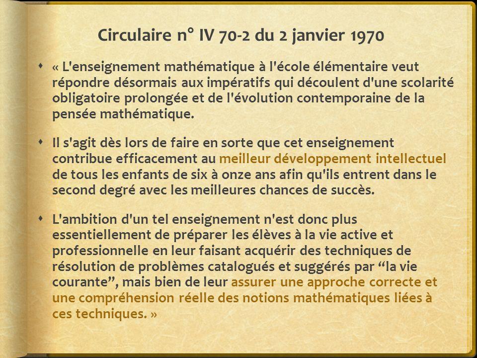 Circulaire n° IV 70-2 du 2 janvier 1970