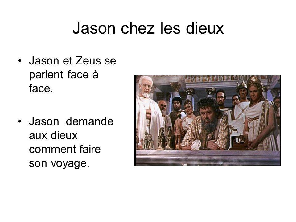 Jason chez les dieux Jason et Zeus se parlent face à face.