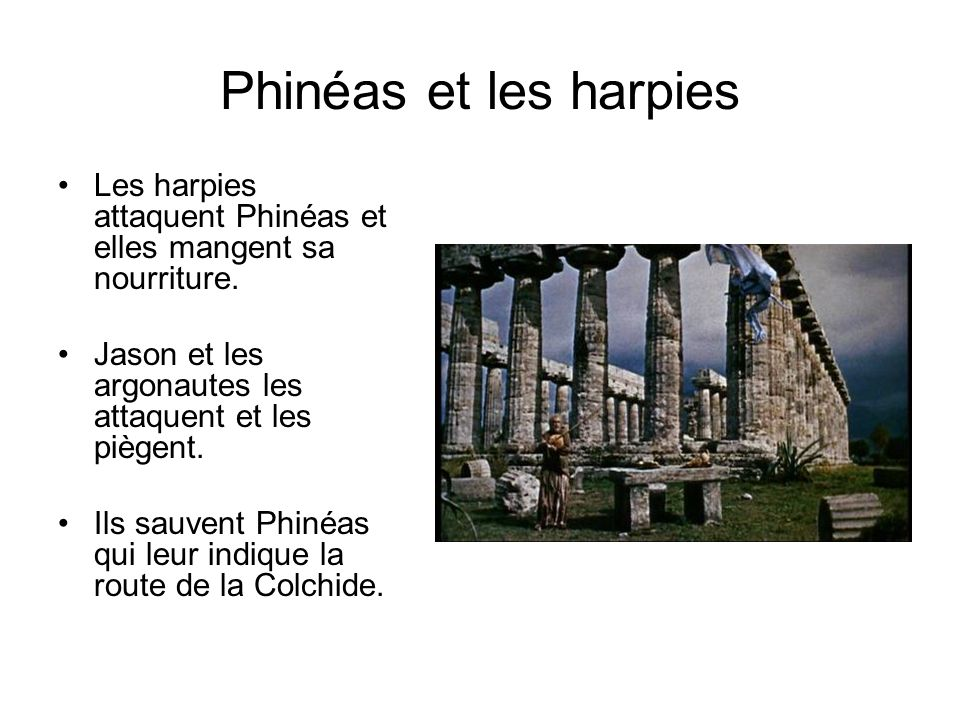 Phinéas et les harpies Les harpies attaquent Phinéas et elles mangent sa nourriture. Jason et les argonautes les attaquent et les piègent.