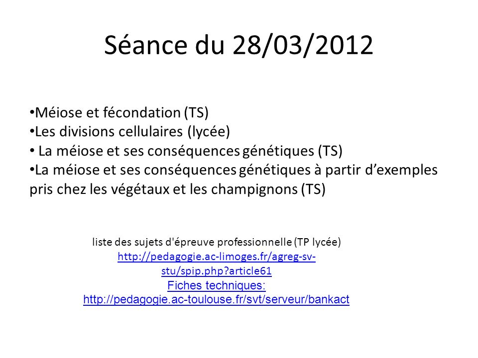 Séance du 28/03/2012 Méiose et fécondation (TS)