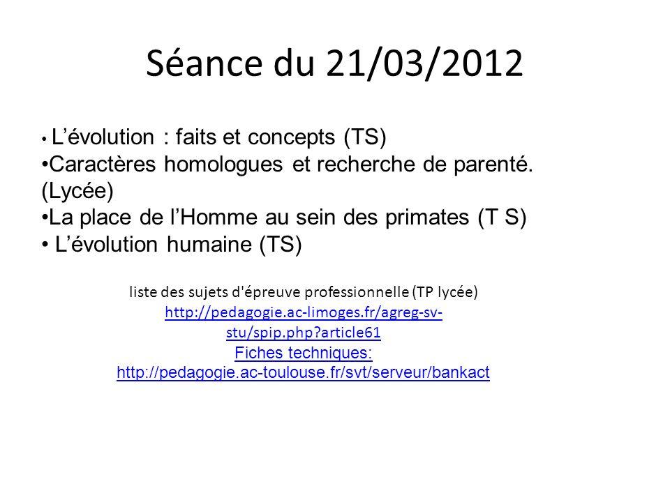 Séance du 21/03/2012 L'évolution : faits et concepts (TS) Caractères homologues et recherche de parenté. (Lycée)