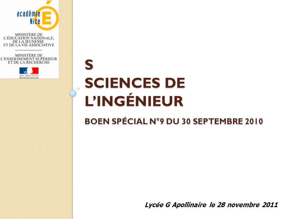 S Sciences de l'ingénieur BOEN spécial n°9 du 30 septembre 2010