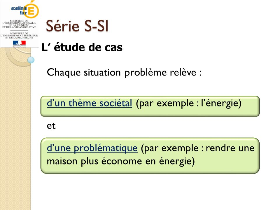 Série S-SI L' étude de cas Chaque situation problème relève :