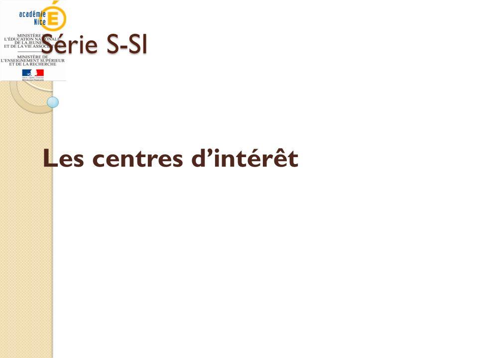 Série S-SI Les centres d'intérêt