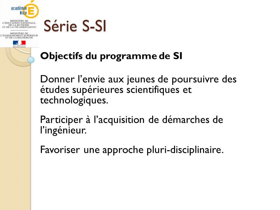 Série S-SIObjectifs du programme de SI. Donner l'envie aux jeunes de poursuivre des études supérieures scientifiques et technologiques.