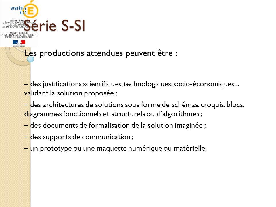 Série S-SI Les productions attendues peuvent être :