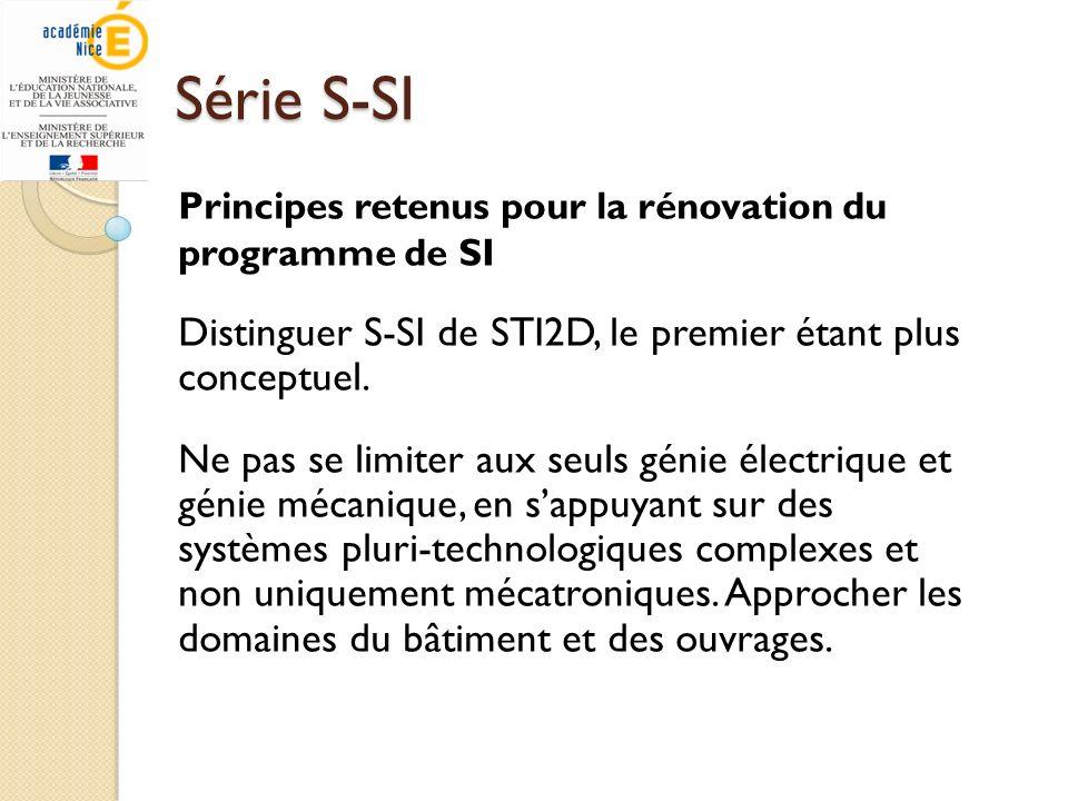 Série S-SI Distinguer S-SI de STI2D, le premier étant plus conceptuel.