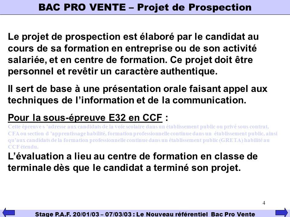BAC PRO VENTE – Projet de Prospection