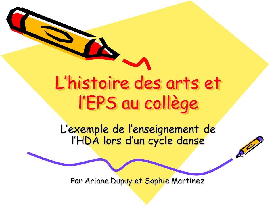 L'histoire des arts et l'EPS au collège