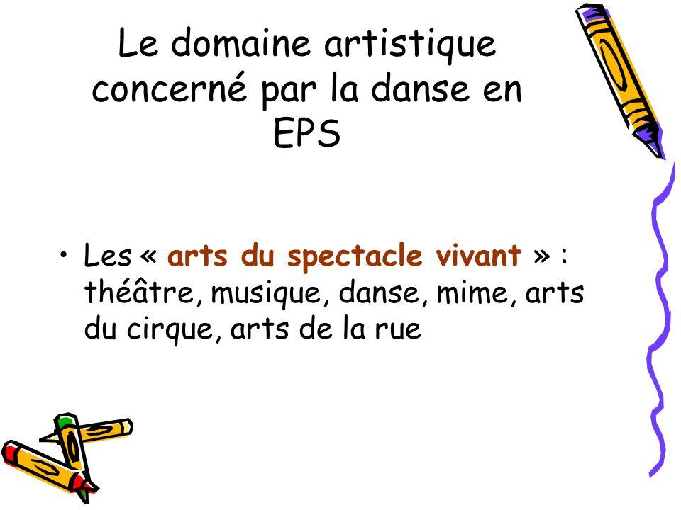 Le domaine artistique concerné par la danse en EPS
