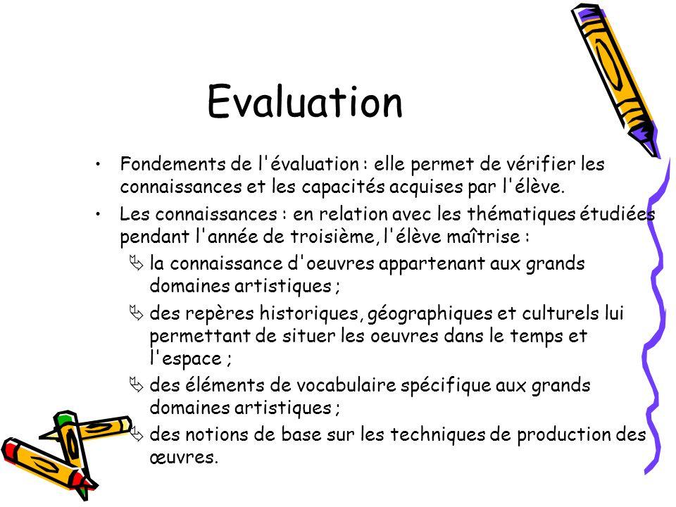 Evaluation Fondements de l évaluation : elle permet de vérifier les connaissances et les capacités acquises par l élève.