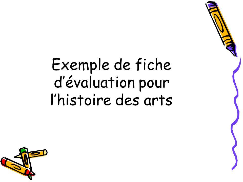Exemple de fiche d'évaluation pour l'histoire des arts