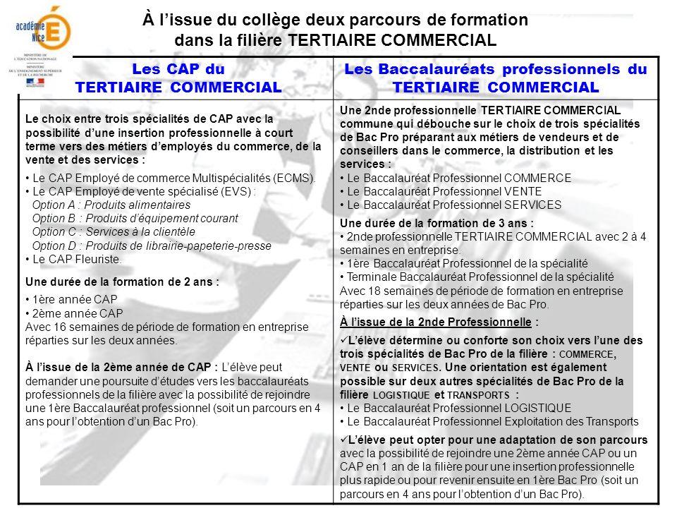 Les Baccalauréats professionnels du TERTIAIRE COMMERCIAL