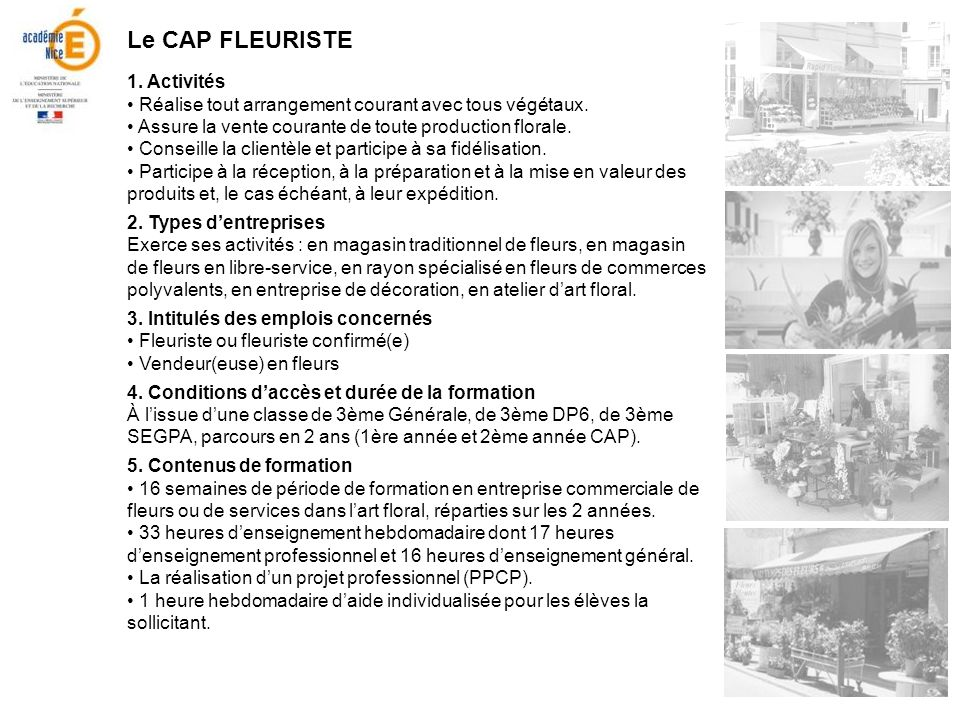 Le CAP FLEURISTE 1. Activités