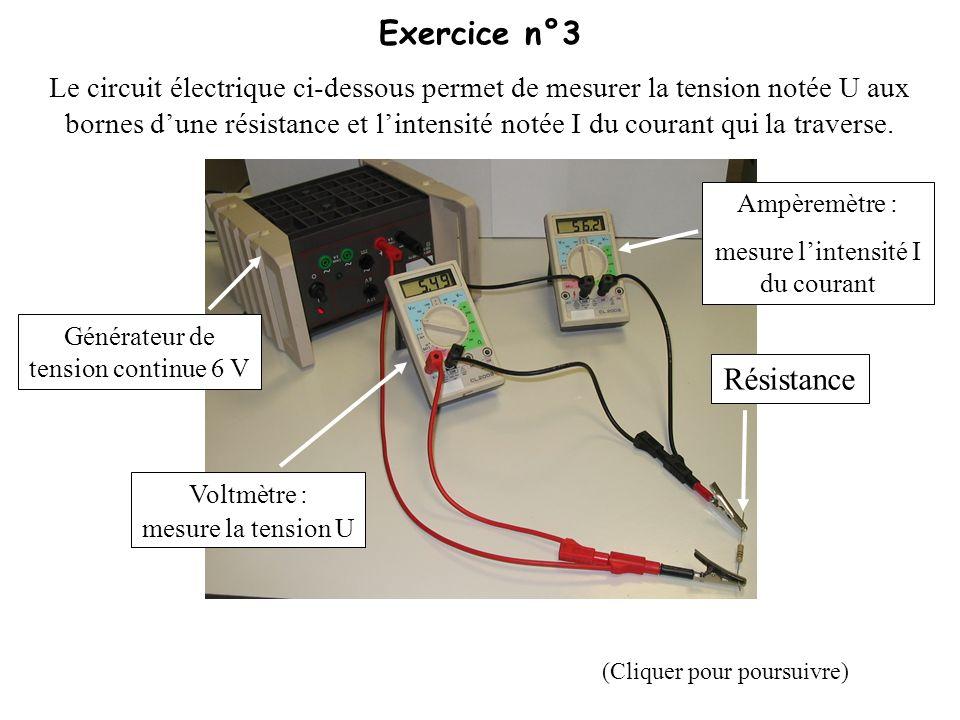 Exercice n°3 Résistance