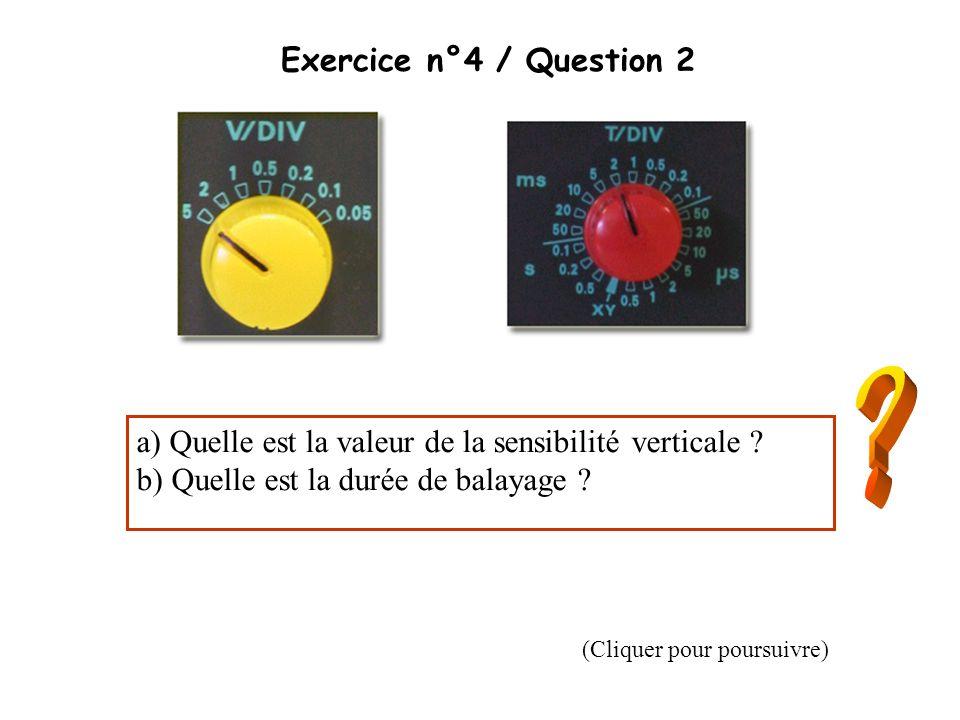 Exercice n°4 / Question 2 a) Quelle est la valeur de la sensibilité verticale b) Quelle est la durée de balayage