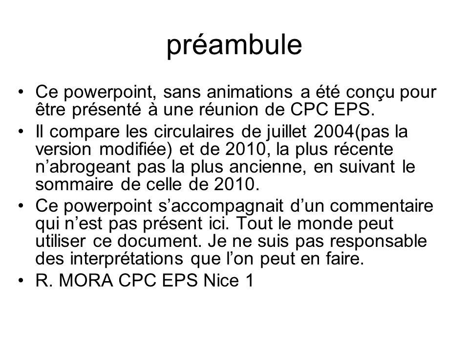 préambule Ce powerpoint, sans animations a été conçu pour être présenté à une réunion de CPC EPS.