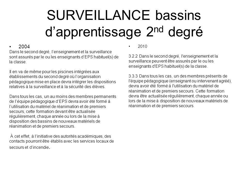 SURVEILLANCE bassins d'apprentissage 2nd degré