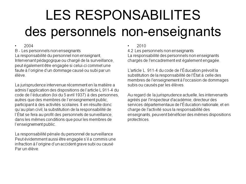 LES RESPONSABILITES des personnels non-enseignants