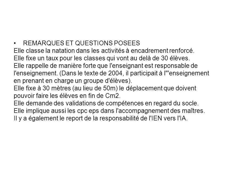 REMARQUES ET QUESTIONS POSEES