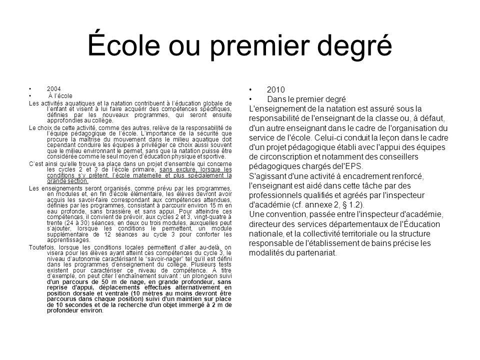 École ou premier degré 2010 Dans le premier degré