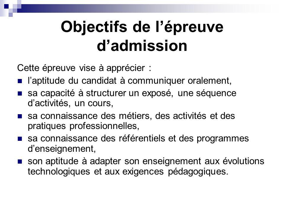 Objectifs de l'épreuve d'admission
