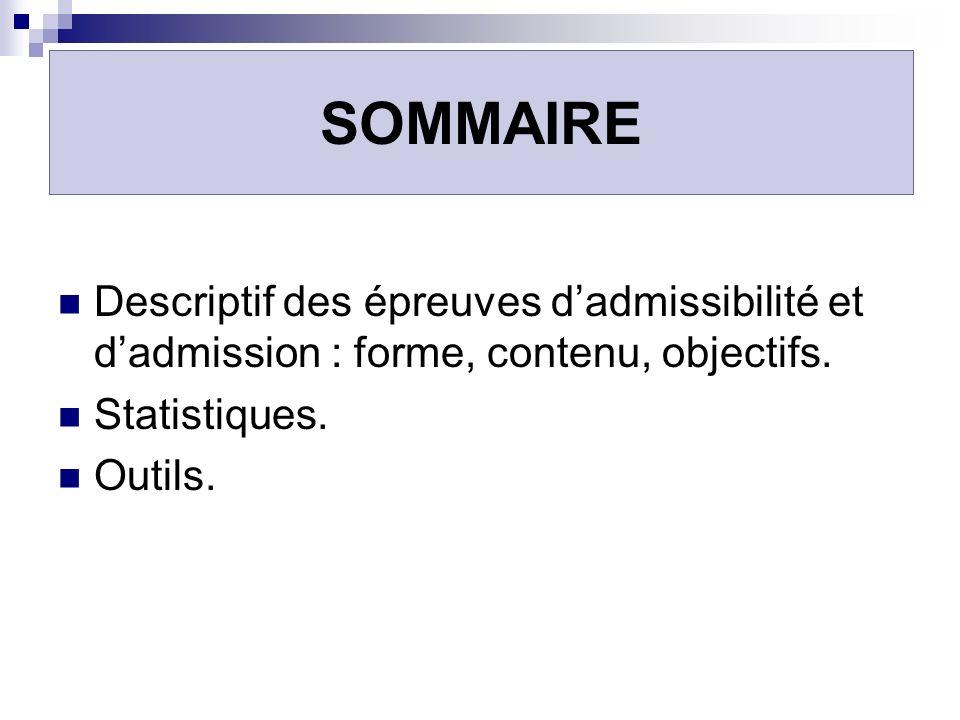 SOMMAIRE Descriptif des épreuves d'admissibilité et d'admission : forme, contenu, objectifs. Statistiques.