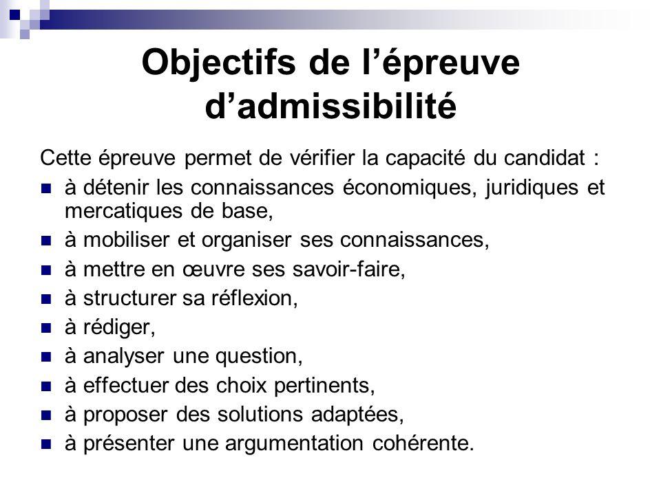 Objectifs de l'épreuve d'admissibilité