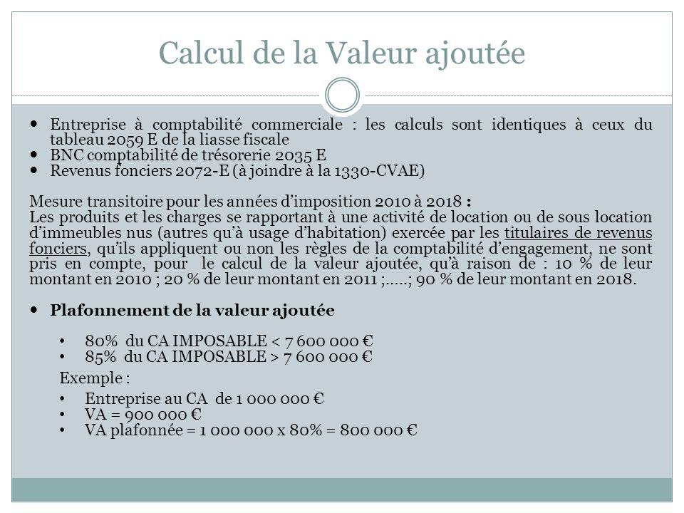 Calcul de la Valeur ajoutée