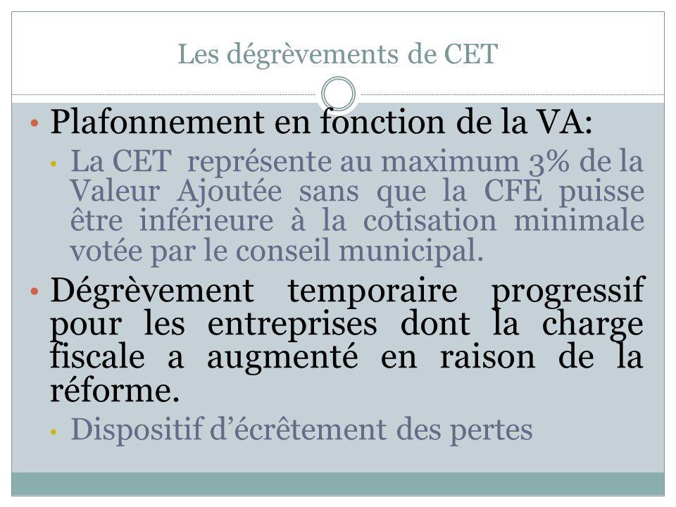 Les dégrèvements de CET