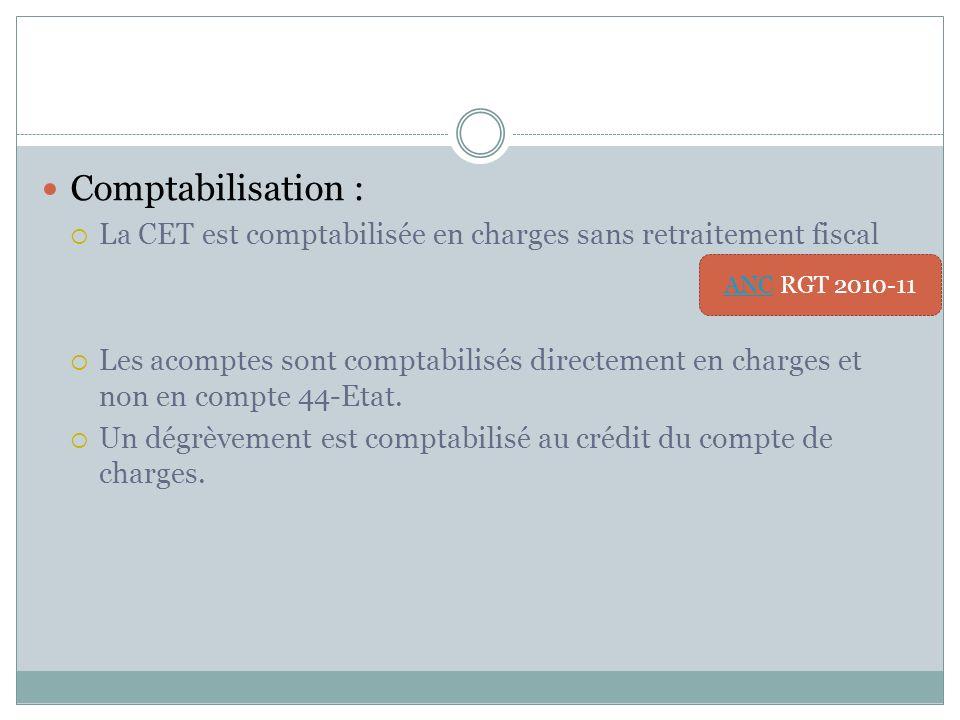 Comptabilisation : La CET est comptabilisée en charges sans retraitement fiscal.