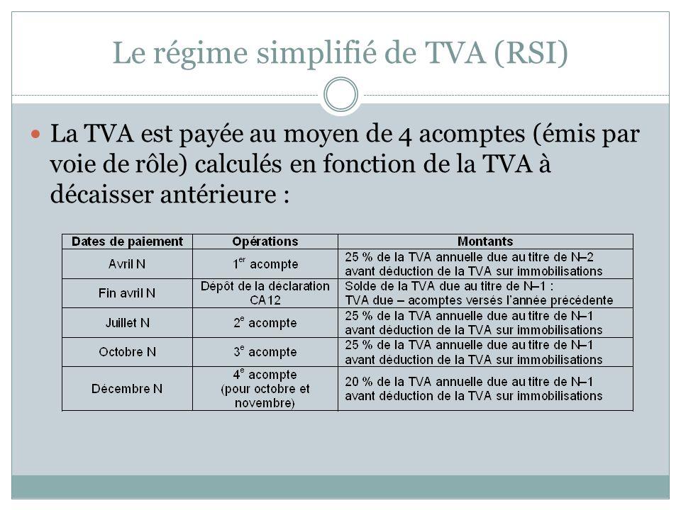 Le régime simplifié de TVA (RSI)