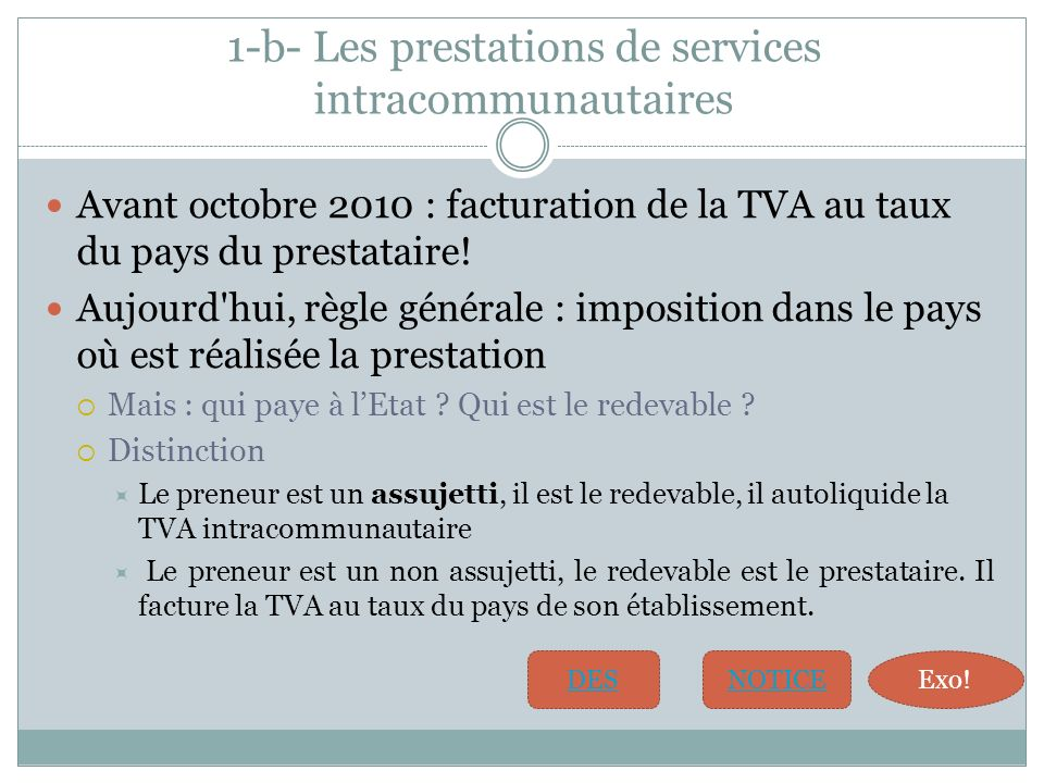 1-b- Les prestations de services intracommunautaires