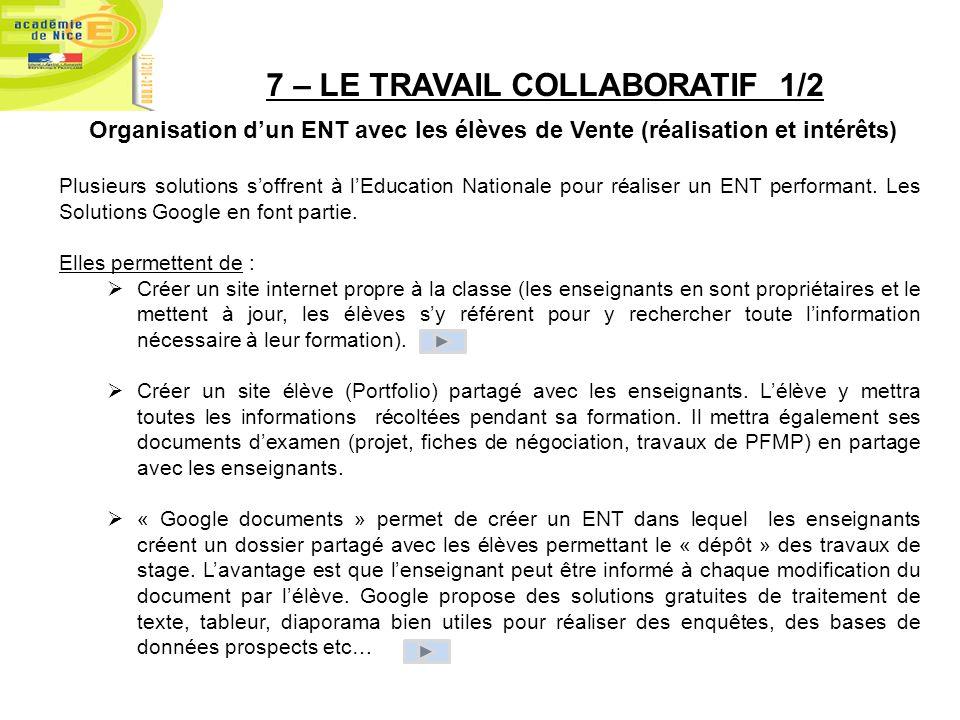 7 – LE TRAVAIL COLLABORATIF 1/2