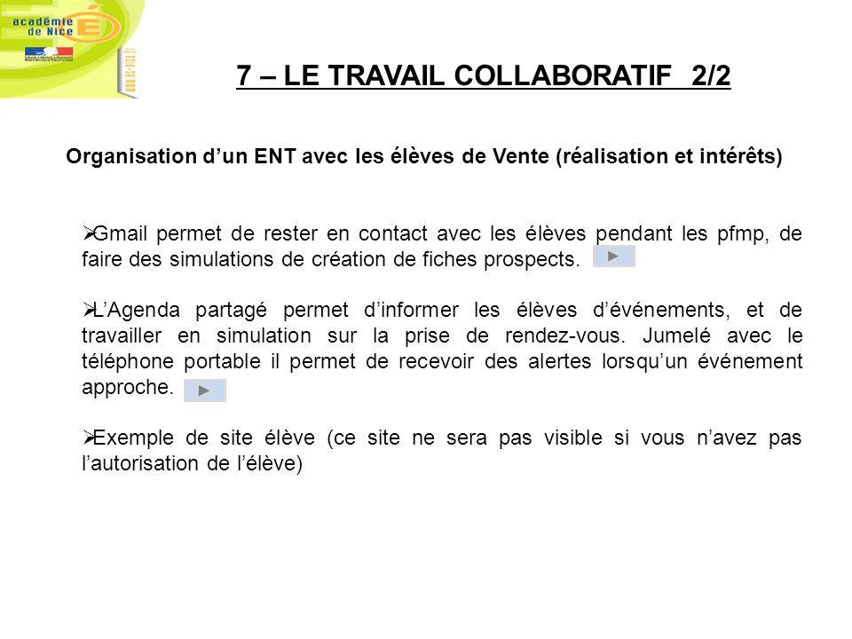 7 – LE TRAVAIL COLLABORATIF 2/2