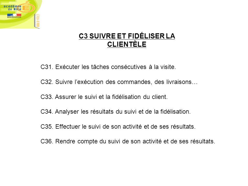 C3 SUIVRE ET FIDÉLISER LA CLIENTÈLE