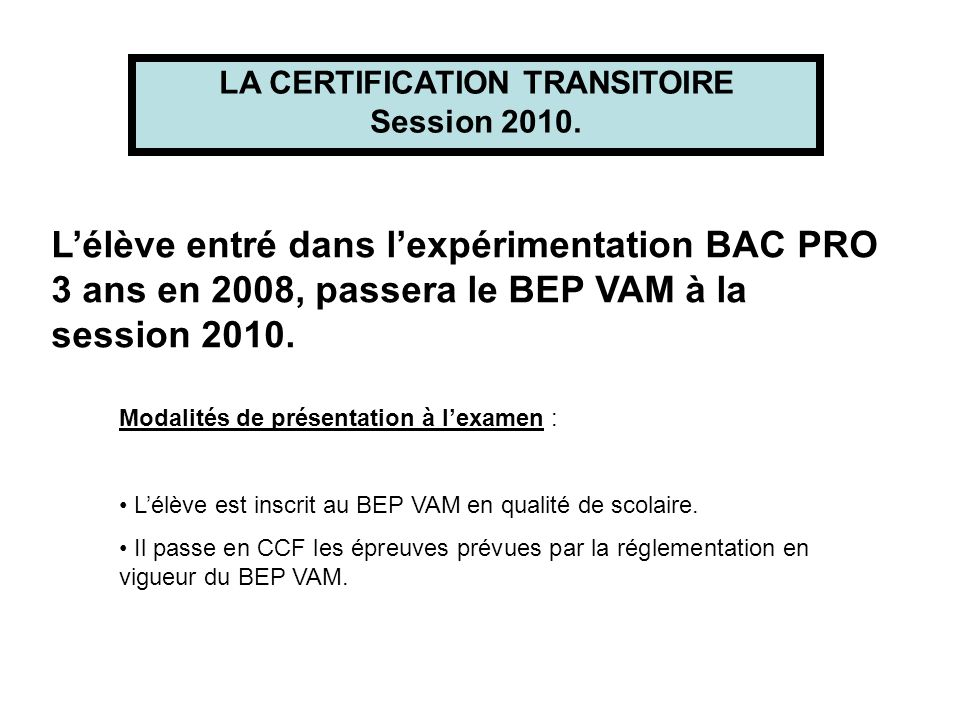 LA CERTIFICATION TRANSITOIRE