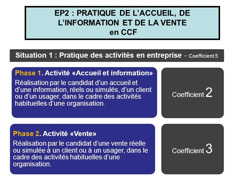 EP2 : PRATIQUE DE L'ACCUEIL, DE L'INFORMATION ET DE LA VENTE en CCF