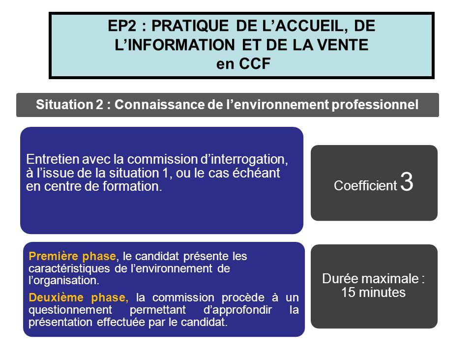 Situation 2 : Connaissance de l'environnement professionnel