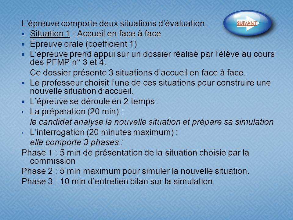 L'épreuve comporte deux situations d'évaluation.