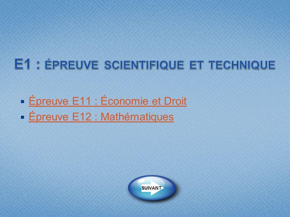 E1 : épreuve scientifique et technique