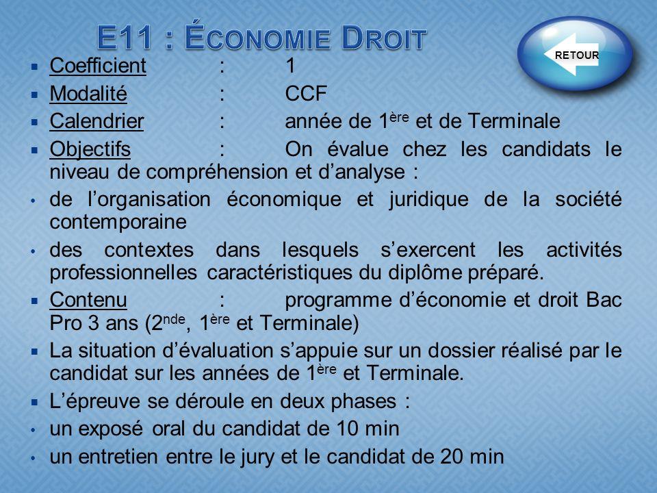 E11 : Économie Droit Coefficient : 1 Modalité : CCF