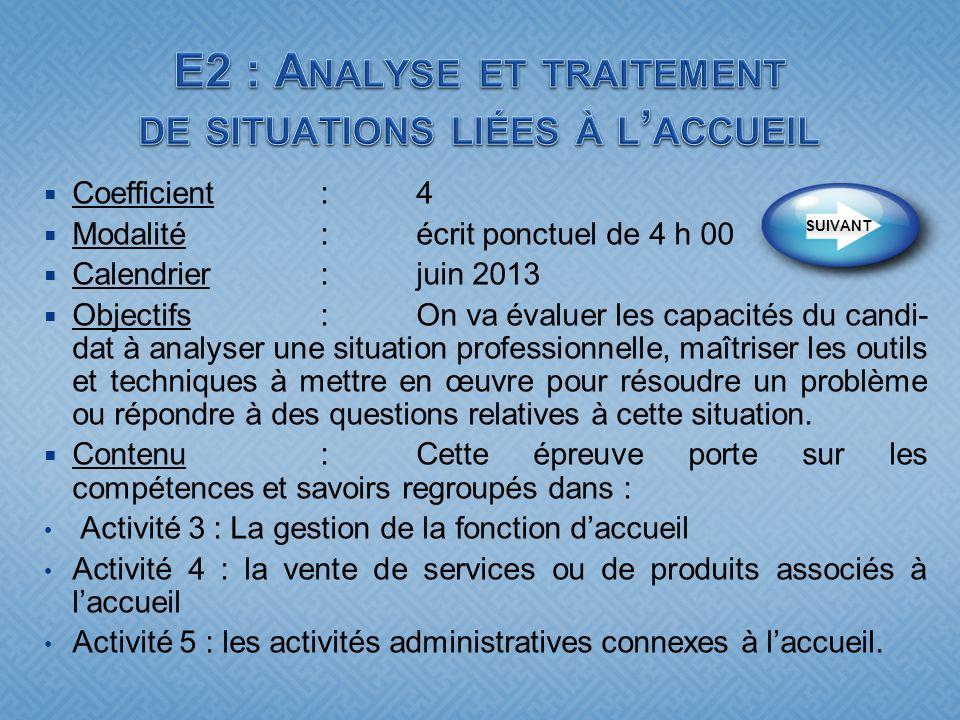 E2 : Analyse et traitement de situations liées à l'accueil