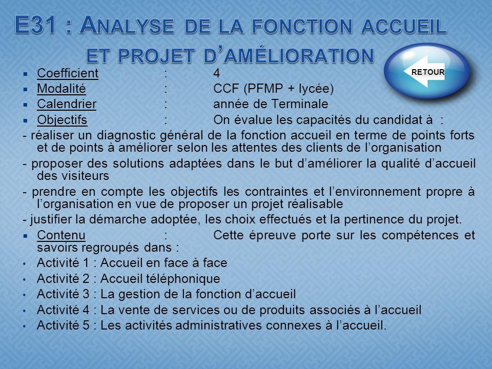 E31 : Analyse de la fonction accueil et projet d'amélioration