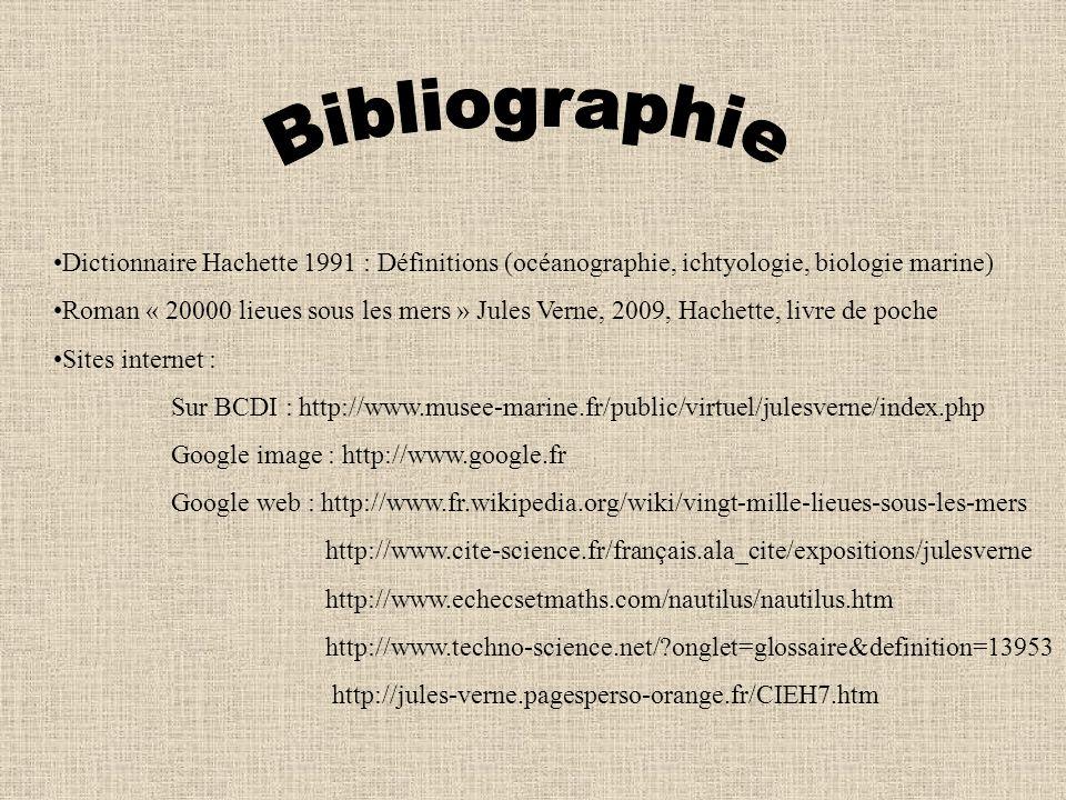 Bibliographie Dictionnaire Hachette 1991 : Définitions (océanographie, ichtyologie, biologie marine)